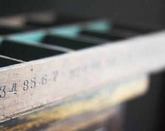 Vintage Industrial Wood Drawer Printers Drawer with Numbering 73-87