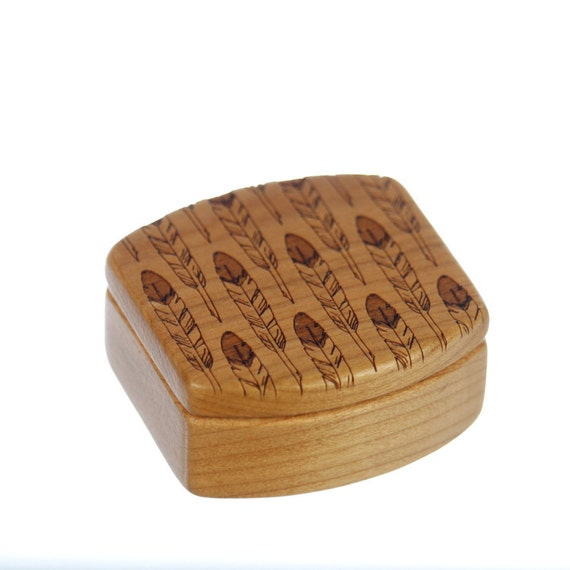Wooden Box, Solid Cherry, Pattern MS4 Feathers, Paul Szewc, Masterpiece