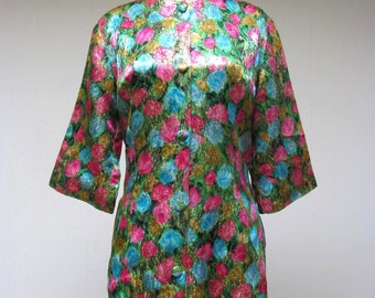 Vintage 1950s Exotica Tunic / 50s Satin Metallic Floral Cocktail Blouse or Jacket VLV / Small
