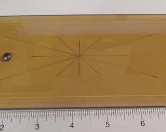 "4 Vintage Amber Glass Lamp Chandelier Inserts Drops - Vintage Glass Lamp Panels Drops 8.5"""