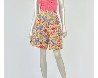 Vintage Floral Shorts Linen Shorts 80s Shorts High Waist Shorts Womens 1980s Shorts Beige Gold Pink Purple Art Nouveau Floral Print Shorts M