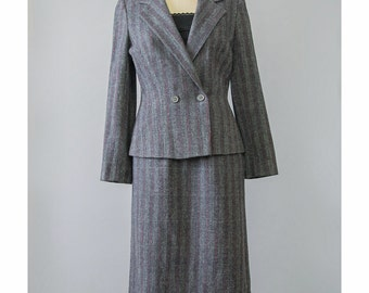 SALE - 70s Tweed Suit Wool Suit 1970s Striped Wool Suit Navy Blue Red Grey Double Breasted Blazer Jacket & Midi Pencil Skirt Suit