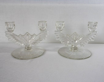 Vintage Pair Crystal Double Candlestick Holders