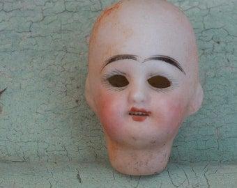 Broken Doll Head Antique German Porcelain Small Bisque Doll Head