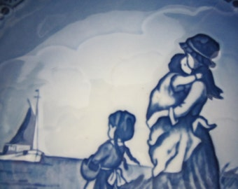 The Motherhood Series - Father's Homecoming - Vestergaard Royal Copenhagen Denmark - 1989 First Edition Handpainted Blue & White Wall Plate