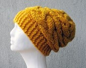 Cable knit hat Yellow hat Hand knit slouchy beanie Chunky knit hat Chunky beanie Chunky beanie Slouch Hat Braided Hand Knit Women Hat