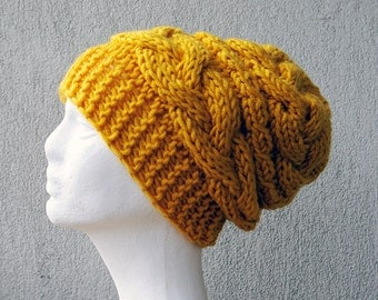 Hand knit slouchy beanie Cable knit hat Yellow hat  Chunky knit hat Chunky beanie Chunky beanie Slouch Hat Braided Hand Knit Women Hat