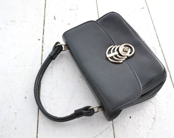 1960s Black Vinyl Handbag with Modernist Clasp