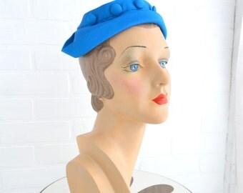 1950s Bright Blue Hat