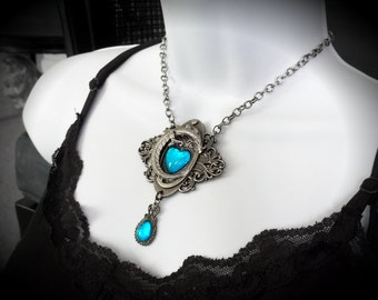 Large Heart of the Dragon Caribbean Blue Opalite Edwardian  Filigree Necklace