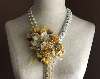 ENCHANTED APRIL Yellow White Mixed Media Beaded Textile Necklace