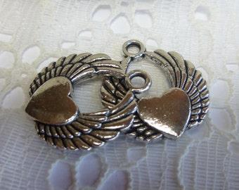 2-Beautiful Tibetan Shining Silver Circular Winged Heart Pendants Charms 19 x 23mm