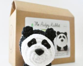 Craft Panda Kit, Amigurumi Kit, DIY Crochet Kit, Learn to Crochet, Crochet Panda Pattern