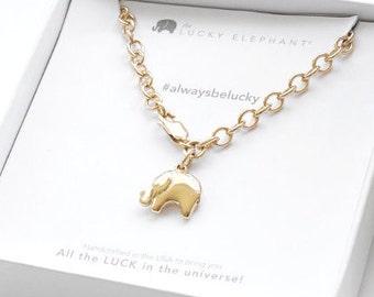 Lucky Elephant Charm Bracelet , 24K Gold Over Sterling Chain, Gold Lucky Elephant - the Lucky Elephant Original