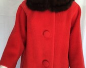 Vintage Mid Century Forstmann Coral Boxy Swing Wool Coat with Mink Collar - FREE SHIPPING IN U.S.