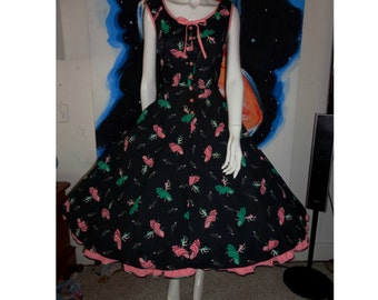 1950's FLAMENCO Dancer Novelty Print Dress Pink Black Full Skirt Peekaboo Petticoat 30 Waist Rockabilly VlV