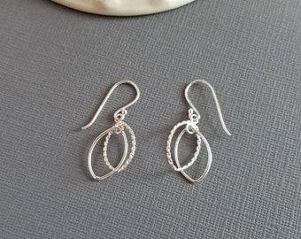 Oval Earrings, Drop Earrings, Silver Oval Earrings, Sterling Silver Hoop Earrings, Oval Dangle Earrings, Sterling Silver Oval Earrings