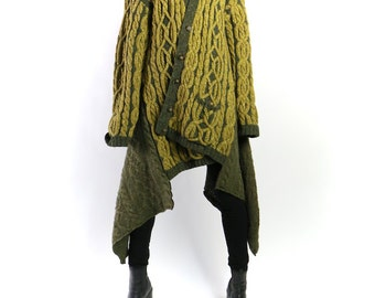 cardigan, sweater, oversized green chunky knit jumper, 80s  cable knit button front w/ winged pointy panels. unisex o s f a