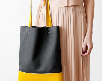 Xmas in July SALE Charcoal Grey And Yellow Leather Tote bag