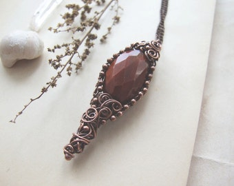 Red Boho Necklace, Vintage Style Bohemian Copper Necklace, Boho Jewelry, Red Rustic Necklace