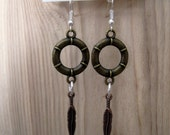 Mixed Metal Earrings - antique brass circle charms, silver ear wire, copper feather, dangle, bohemian, eclectic, earthy
