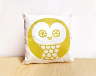 Throw Pillow OWL · Owl Cushion 13 x 13 (Insert included) · Decorative pillow · Pillow cover + insert · Hand silk screen-printed by Olula