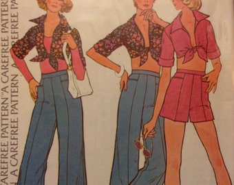 Vintage McCall's 4023 Toed Top & Pants or Shorts Sewing Pattern 36 Inch Bust