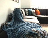 Denim Throw Lap Blanket Blue Knit Afghan Throw for Sectional Sofa Throw