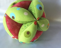 Lime Green Dotted Amish Puzzle Ball – Easy Clutch Ball - Baby Grab Ball - A Great Toy for Babies, Toddlers and Up. Simple and basic toys