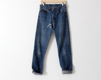 Levis 501 denim jeans, vintage 501s, american denim 31 x 34