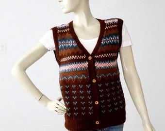 1980s alpaca knit vest, vintage cardigan sweater