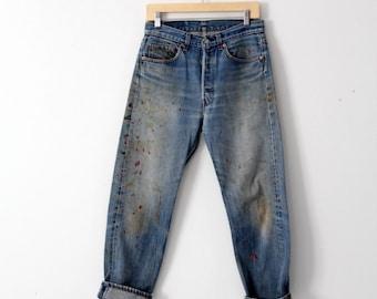 vintage Levi's 501 denim jeans, paint splatter denim, 31 x 29