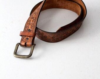 vintage tooled leather belt, western belt