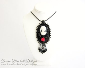 Beaded Cameo Necklace Bead Embroidered Statement Necklaces Cocktail Jewelry Silhouette Portrait Black and White Art Nouveau Womens Fashion