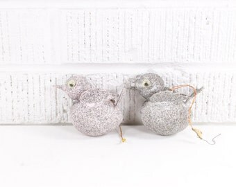 Vintage Mica Bird Ornament Pair - Pink & Silver Glitter Birds Christmas Ornaments - Made in Japan