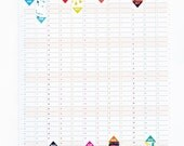 Wall Planner 2017 Calendar Office Organiser Pattern Reversible Design HG Wells Quote