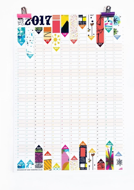 Wall Planner 2017 Calendar Office Organiser Pattern Reversible Design HG Wells Quote