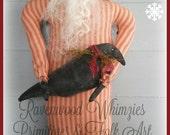 Primitive Santa, Primitive Black santa, Prim santa, Primitive Christmas, Christmas crow, primitive winter, saint nicholas
