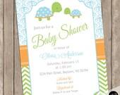 Boy Turtle baby shower invitation in blue orange and green,  baby boy shower invitation, boy turtles, tortoise, blue, green, orange