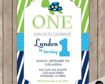 Sea turtle birthday invitation, turtle 1st birthday invitation, boy turtle birthday invitation, lime and navy sea turtle birthday invitation
