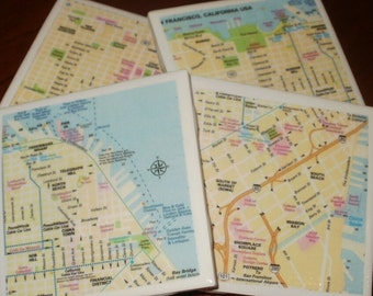 San Francisco Street Map Coasters...Set of 4...Fully Backed in Cork for Drinks or Candles...Great Gift