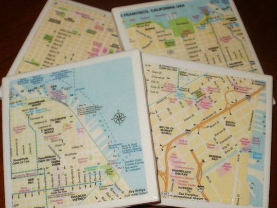 Map Coasters - San Francisco Street Map Coasters...Fully Backed in Cork for Drinks or Candles...Full Cork Bottoms NOT Felt