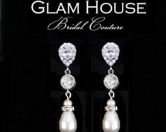 Tear drop Bridal Earrings, Bridal jewelry, Cubic zirconia Earrings,bridesmaid jewelry,bridesmaid earrings,tear drop earrings