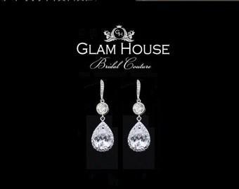 Crystal Bridal Earrings, Bridal jewelry, Cubic zirconia  Earrings,tear drop earrings,bridesmaid earrings,bridesmaid gift,hook earrings