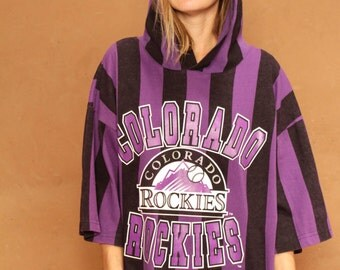 90s colorado ROCKIES grunge striped purple & black HOODIE sweatshirt crossover