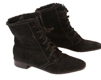Black Fur Lined Women's Boots Ankle Boot Size 7 B
