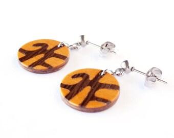 Sterling silver & Wood Dangle Earrings - Cool earrings - Wooden jewelry