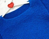 Blue Valentines day sweater sharp shoulder alisa design minimalist origami triangle modern handmade unique design gift for her merino spring