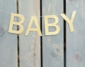 """READY TO SHIP Gold Glitter """"Baby"""" Banner (18"""" long) - Nursery Decor, Baby Shower, Pregnancy Announcement, Rustic Baby Announcement,"""