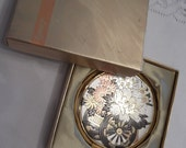 ON SALE- Lovely Powder Compact; Chokin Art of Japan; Featuring a Flower Cart Design circa 1970's-  DR108